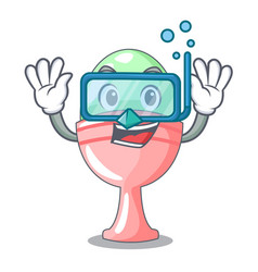 Diving colored easter egg in cup cartoon vector