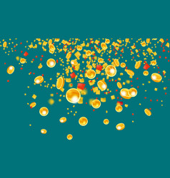 falling flying gold coins with tinsel money from vector image