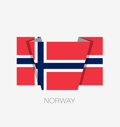 flag of norway flat icon waving flag with country vector image