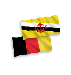 Flags belgium and brunei on a white background vector