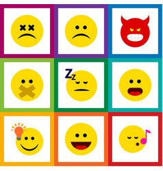 Flat icon emoji set of asleep sad descant and vector