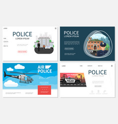 flat police websites collection vector image