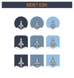 Flat Rocket Icon set vector image