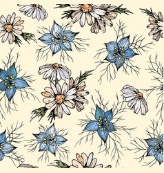 floral seamless pattern with chamomile and vector image
