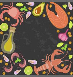 Fresh seafood flat design vector