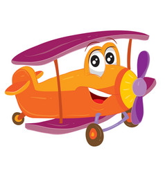 Funny airplane character with big eyes in red vector