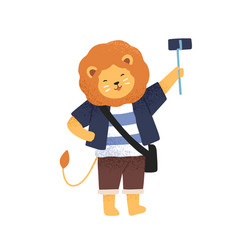 Funny lion taking photo or video holding selfie vector