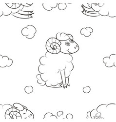 Funny sheep flying in the clouds vector