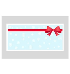 Gift card with red ribbon and a bow vector