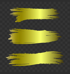 golden textured brush strokes set vector image
