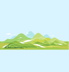 green mountains flat landscape panorama vector image