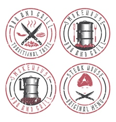 Grunge set of BBQ steakhouse and smokehouse vector