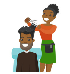 Hairdresser making a haircut to a young man vector