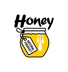 Hand-drawn honey jar logo for apiary products vector image