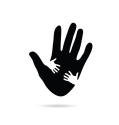 Hands help in black and white vector