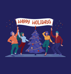 happy holidays card with people holding banner vector image