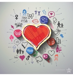 Heart collage with icons background vector