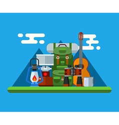 Hiking and Camping Gear Concept vector