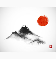 ink wash painting with mountains and big red sun vector image