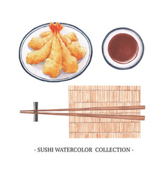 Isolated watercolor sushi collection on white vector