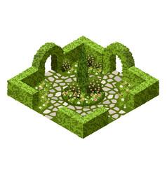 Isometric garden landscape scene vector