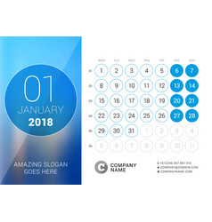 January 2018 desk calendar for 2018 year design vector