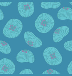 Jellyfish seamless pattern on a blue background vector