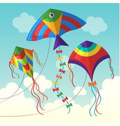 kite in cloud flying outdoor air kite vector image