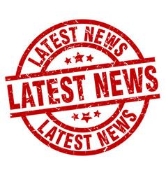 Latest news round red grunge stamp vector