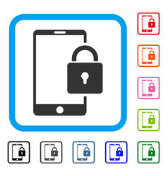 lock smartphone framed icon vector image