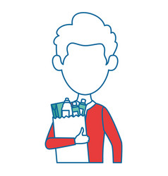 man with bag of groceries vector image