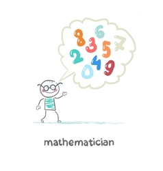 mathematician thinks about numbers vector image