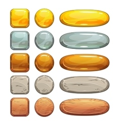 Metallic stone and wooden buttons set vector