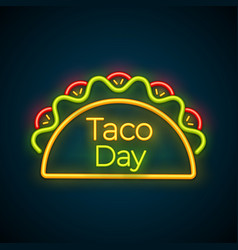 mexican snack food taco festival neon light sign vector image
