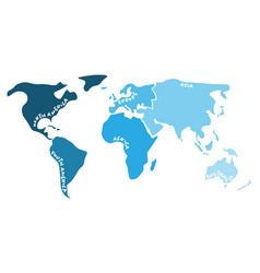 Multicolored world map divided to six continents vector