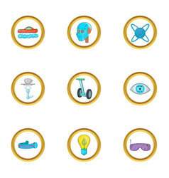 new technology icon set cartoon style vector image