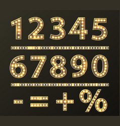 Numbers with bulb lamps gold light vector