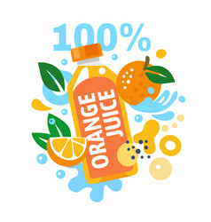 orange juice with splashing water and leaves and vector image