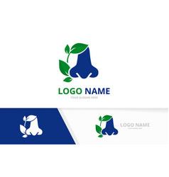 otolaryngology logotype design template blue nose vector image