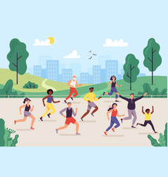 park marathon people running outdoor joggers vector image