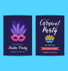 party invitation template with masks and vector image