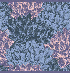Peony flower seamless pattern vector
