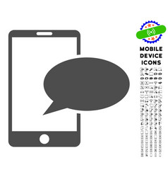 Phone message icon with set vector