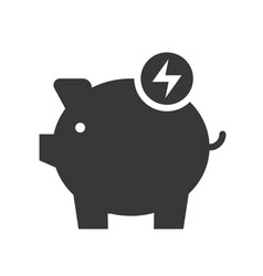 piggy bank and flash sign icon saving energy and vector image
