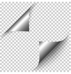 realistic silver foil paper corners set vector image