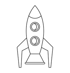 Retro rocket icon outline style vector image