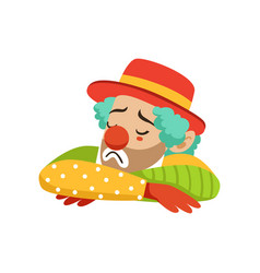 Sad circus clown in traditional make up cartoon vector