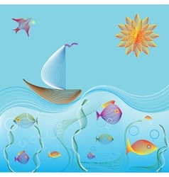 Sailing boat in ocean and underwater world vector image