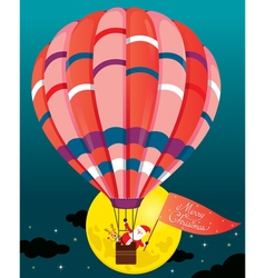 Santa Claus And Reindeer In Balloon vector image