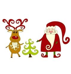 Santa reindeer and tree vector